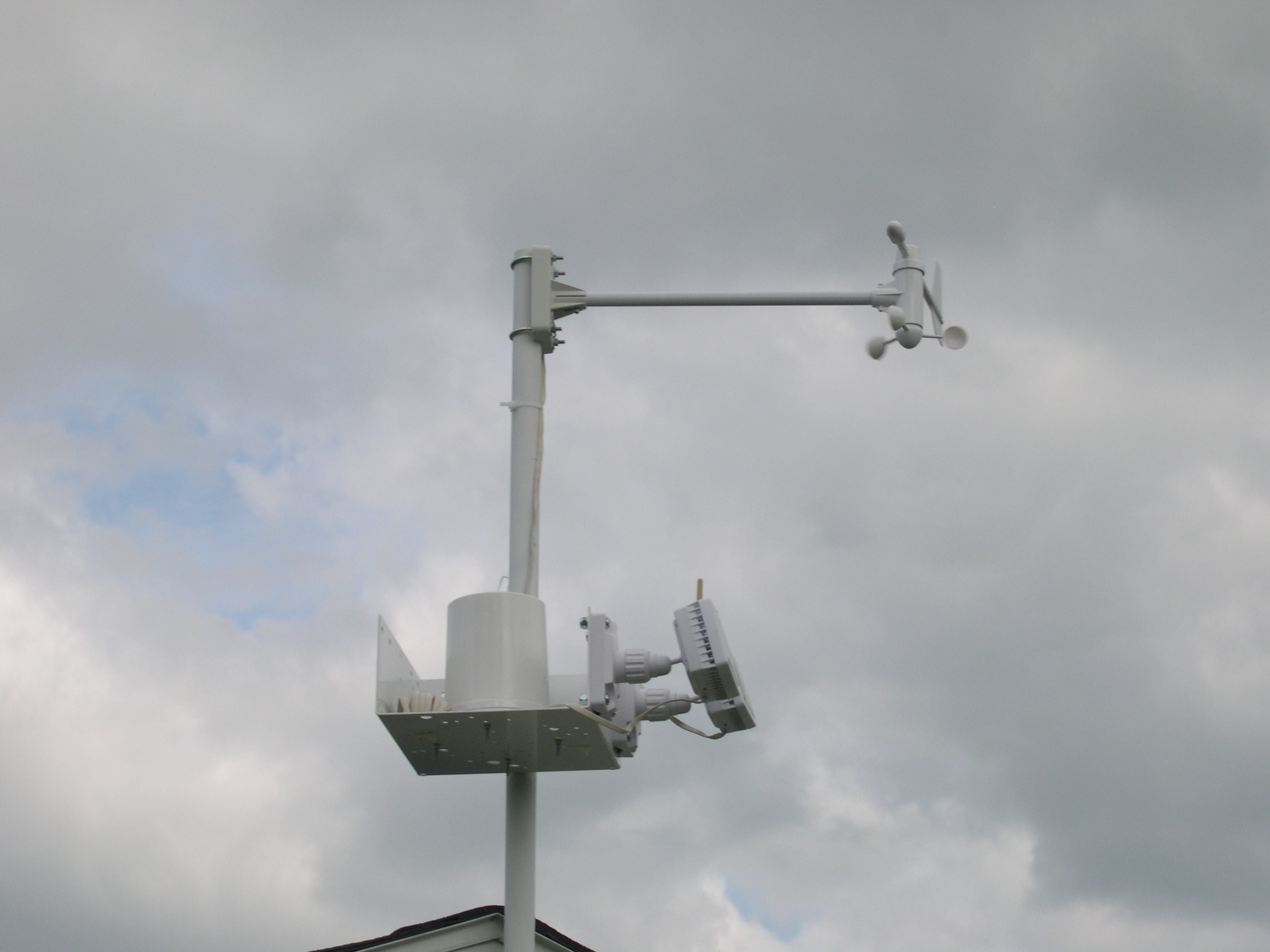 DSCN6765.JPG - Close up of  Wind Vane/Speed and Rain Collection Sensors